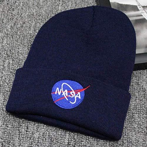 hainanaishun Superior NASA Stickerei Logo Bündchen Hip-Hop Unisex Wintermütze Strickmütze, Herren, NV
