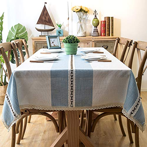 Wondder Mantel Cordón de la Borla del paño de Tabla del Lino algodón la Cubierta de Tabla Cena Banquete Partido del Mantel de la Tabla (Encaje Azul, 140x220cm(55x86.6inch))
