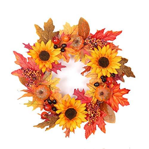 Herbst Deko - Kranz Tür mit dekorierten Kürbis , Eichel , Ahornblatt- Wunderschöne Dekoration für Halloween Thanksgiving Weihnachten