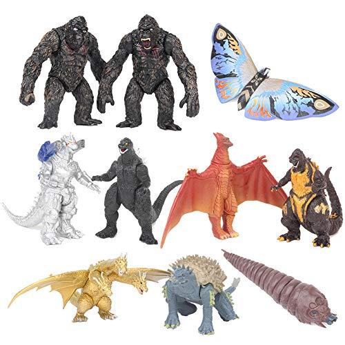 Godzilla vs Kong Toy, 10 Piezas de Figuras de Godzilla, Estatua de Mothra, Mini Personaje Divisible, muñeco King Ghidorah, decoración de Escritorio navideña, Regalos para fanáticos de los Juegos