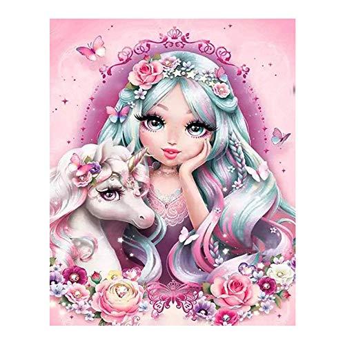 YSNMM meisjes eenhoorn bloemen diamant schilderij cartoon rond volboren 5D knutselen mozaïek borduurwerk kruissteek decoratie