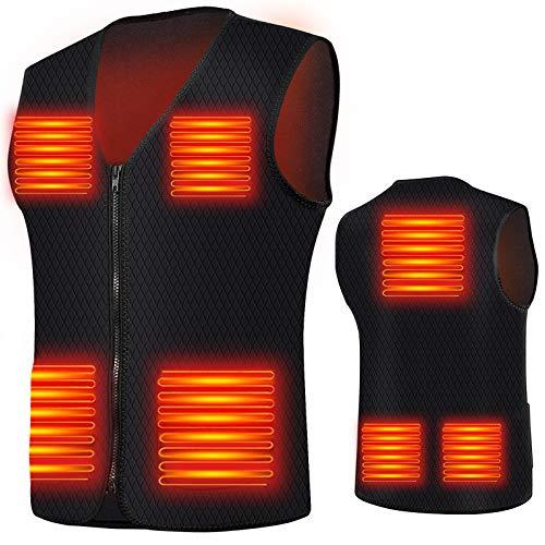 VanSmaGo Beheizbare Weste, Elektrische Beheizbare Jacke für Damen und Herren, USB Lade Heizbare Weste mit 7 Heizkissen für Außen, Wandern, Motorradfahren kaltes Wetter, Winter und Jagen