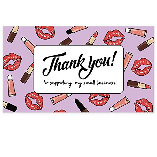 Modern 5th - Thank You for Supporting My Small Business Cards, Lip and Lip Gloss Pattern (3.5 x 2 Inches...