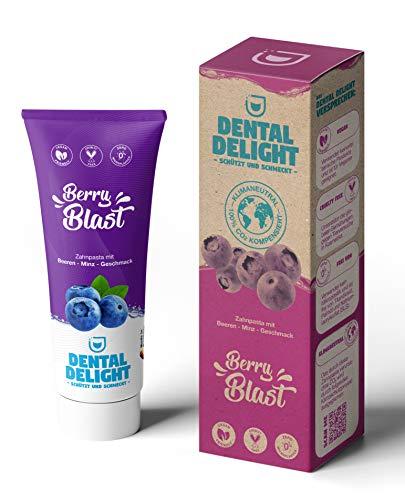 DENTAL DELIGHT Berry Blast (Öko-Test SEHR GUT) | fruchtige Zahnpasta Blaubeere-Minze Geschmack | vegan klimaneutral ohne Mikroplastik