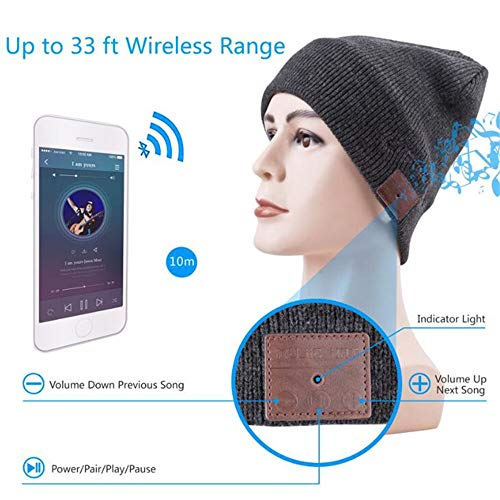 QIA Winter Elastische Kabellose Jacke Pullover Futter Strickmütze Lautsprecher Mikrofon Stereo Magic Music 5.0 Wireless Smart Bluetooth Cap L B