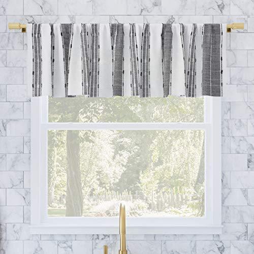 "Archaeo Cassidy Slub Texture Stripe Cotton Cafe Curtain Valance, 52"" x 14"" Kitchen, Black/White"