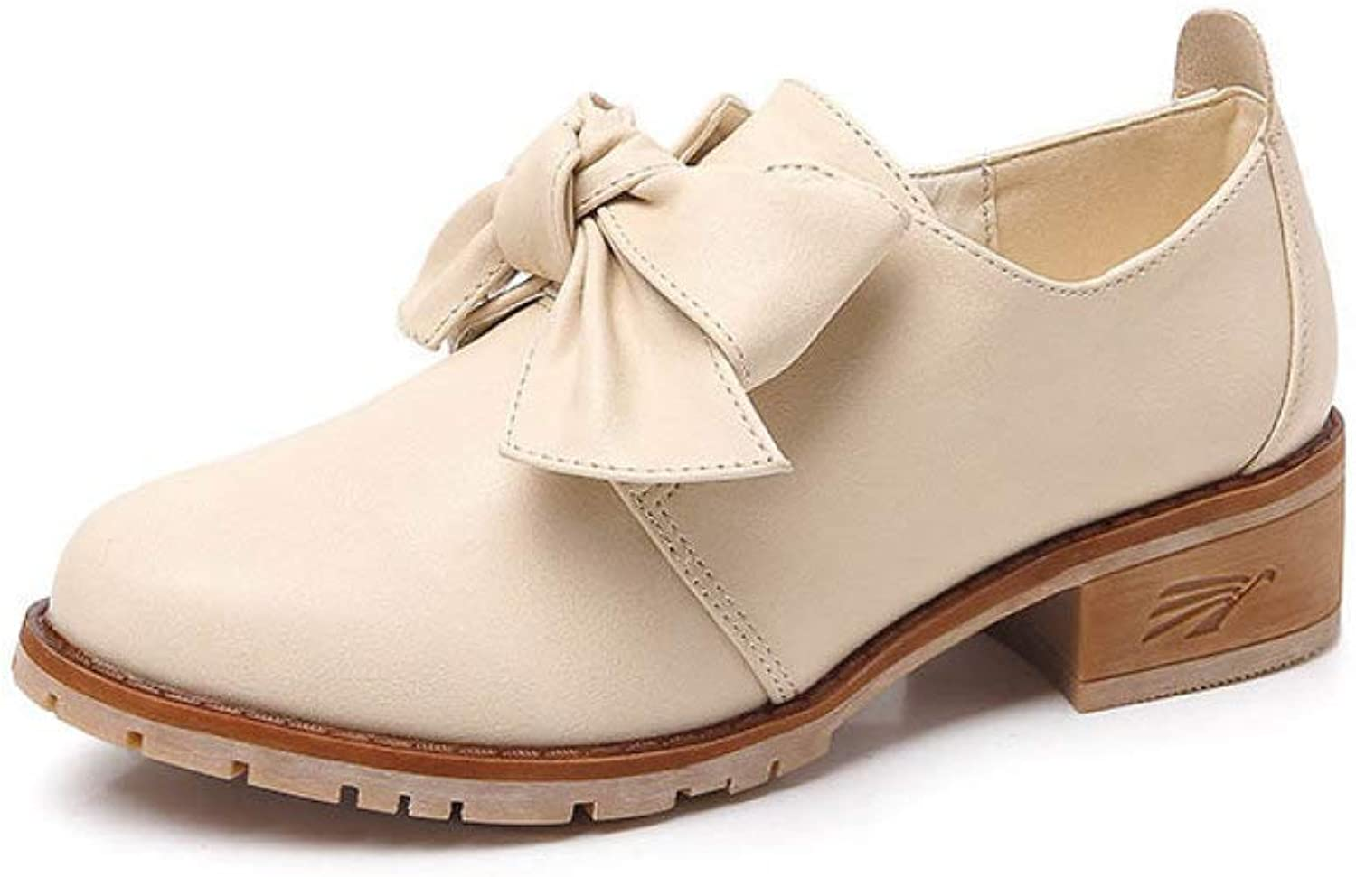 Fay Waters Bowknot Leather Oxfords for Women Round Toe Slip On Chunky Low Heel shoes