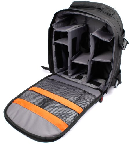 DURAGADGET Rucksack w/Adjustable Padded Interior & Raincover - Compatible with Canon VIXIA HF R60 | VIXIA HF R62 | VIXIA HF R600 Camcorder - with Customisable Interior & Raincover