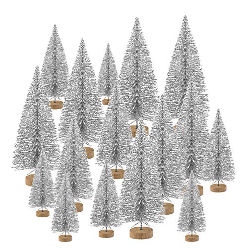 KUUQA 48 Pcs Mini Christmas Trees Bottle Brush Trees Tabletop Model Trees for Christmas Decoration DIY Room Decor Diorama Models (Silver)