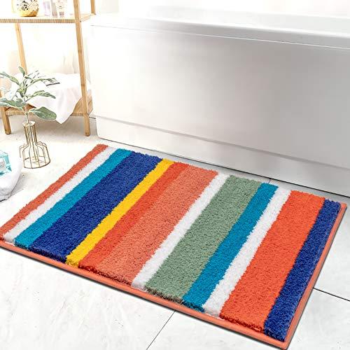 HEBE Bathroom Rugs Non Skid Machine Washable Microfiber Bath Rugs Floor Mats for...