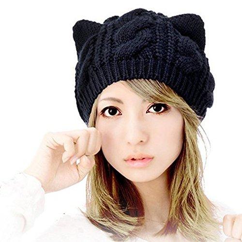 Fashion Women Girl Warm Winter Fall Wool Crochet Baggy Beret Beanie Hat Caps Cute Devil Horn Cat Ear Shape Knitted Hats Elastic Outdoor (Black)