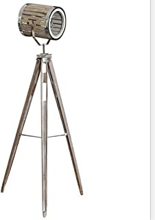 Floor Lamp Vintage Do The Old Wooden Tripod with Silver Chrome Metal Collocation Industrial Retro Adjustable Searchlight E...