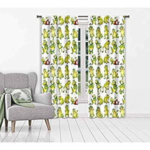 Nursery Bedroom Curtains Frogs in Different Positions Funny Happy Cute Expressions Faces Toads Cartoon Drapes for Bedroom and Sliding Glass Door Green Yellow Red