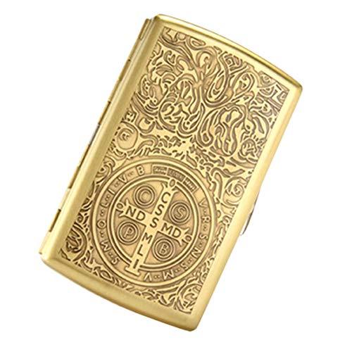 ASDZ Caja De Cigarrillos Caja De Cigarrillos De Metal De Cobre Puro Personalizado Ultrafina Caja De Cigarrillos De Metal, Paquete Completo, Delgada (Capacidad 16)