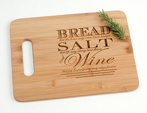 Engraved Wood Cutting Board Housewarming Gift, Bread Salt Wine Poem Quote from It's a Wonderful Life Realtor Closing Gift Idea 9.5 x 13'
