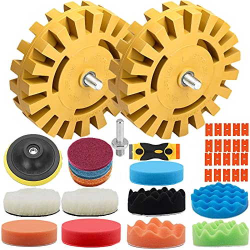 Decal Remover Eraser Wheel, GOH DODD 4 in Rubber Wheel Car Sticker Adhesive Pinstripe Remover Vinyl Decal Graphics Removal Tool with Drill Adapter Kit for Cars, Rvs, Boats