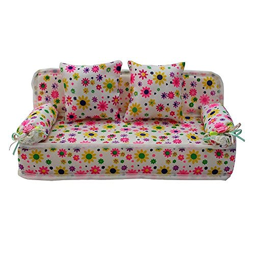 Metermall Home Lovely Miniature Furniture Flower Print Sofa Couch Met 2 kussens pop