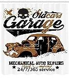 123456789 Coches Ducha Cortina Viejo Garaje Auto Reparación Impresión para Cuarto de Baño