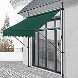 Toldo articulado con armazón 150 x 120 x 200-300 cm Toldo Enrollable terraza balcón Protector de Sol Parasol Verde Oscuro
