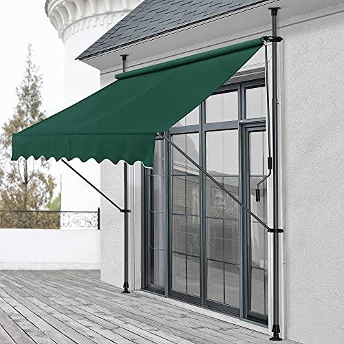 pro.tec Klemmmarkise 200 x 120 x 200-300cm Markise Balkonmarkise Sonnenschutz ohne Bohren Dunkelgrün