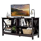 COSTWAY Mueble de Madera para TV hasta 55 Pulgadas, Mueble con 3 Niveles y Repisas, Consola Rustica Industrial para Salón y Dormitorio