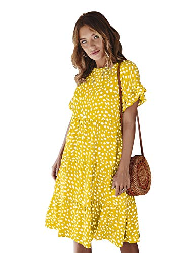 LANISEN Babydoll Dresses for Women,Women's Summer Casual Boho Floral Printed Short Sleeve O Neck Pleated Loose Swing Tunic T Shirt Dress Yellow M (Apparel)