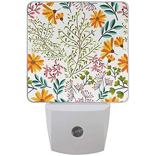 Gelbe Blumen-Pflanzen-Blätter, die Nachtlicht-Dämmerung zum Dämmerungs-Sensor drucken, schließen Wand-Licht an