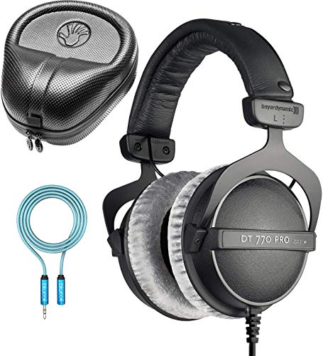 Beyerdynamic DT 770 PRO 250 Ohm Closed Back Headphones for Studio Mixing and Music Recording Bundle with Full-Sized HardBody Pro Headphone Case, and Blucoil 6-FT Headphone Extension Cable (3.5mm)