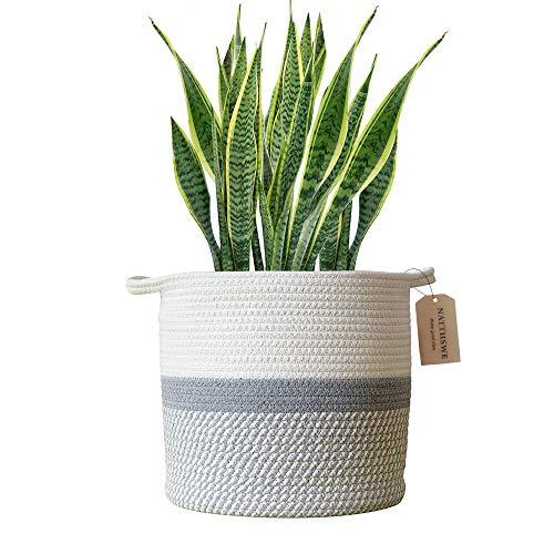 Maceta tejida con cuerda de algodón, cesta para plantas, interior para maceta de 25cm, decoración, cesta de lavandería plegable, cesta de almacenamiento para el hogar