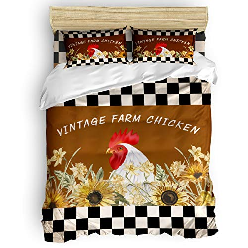 Duvet Cover Set 4 Pieces,Super Soft Bedding Down Comforter Cover with Zipper Closure, Machine Washable Breathable Microfiber Polyester Duvet Cover,Vintage Farm Chicken Full