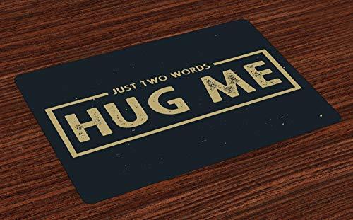 ABAKUHAUS Knuffel Placemat Set van 4, Slechts 2 Woorden Hug Me Woorden, Wasbare Stoffen Placemat voor Eettafel, Dark Tan Dark Night Blue
