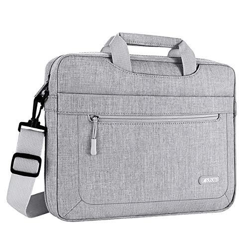 Laptoptasche Kompatibel mit 15-15,6 Zoll MacBook Pro, Ultrabook Netbook Tablet, Polyester Schultertasche mit Verstellbarer Tiefe an der Unterseite, Hellgrau