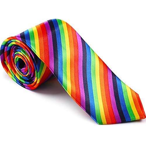 SATINIOR Corbata de Orgullo con Rayas Arcoiris para Carnaval Festival de Orgullo Vestir Diario Fiesta de Disfraces