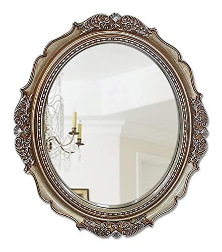 AMDHZ Espejo de Pared Redondo Adornado |Espejo de Maquillaje Circular para dormitorios, vestidores, Salones |Espejo de la decoración de la Vendimia, Plata Antigua Espejo para maquillarse