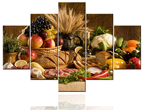 Dining Room Wall Art Green Fresh Vegetable Paintings Seasonal Fruit Pictures 5 Piece Prints on Canvas Wheat Bread Artwork for House Framed Gallery-Wrapped Ready to Hang Native Gift(60''W x 40''H)