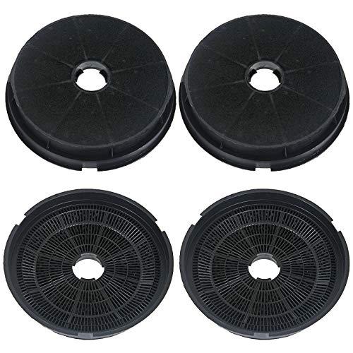 SPARES2GO Ronde houtskool ventilatiefilters voor Baumatic Oven afzuigkappen (Pack van 4)