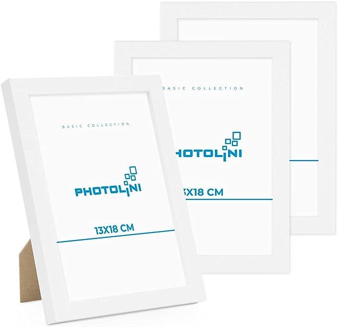 5461 opinioni per Photolini Set di 3 cornici per Foto da 13x18 cm Modern Bianco in MDF con Vetro