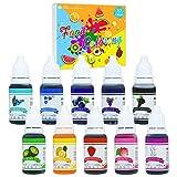 Lebensmittelfarbe 10 hochkonzentrierte Flüssige Farben Set für Lebensmittel Kuchen Backen, Bunte Farbstoffe für DIY Slime Kunsthandwerk Einfärben, 10ml x 10