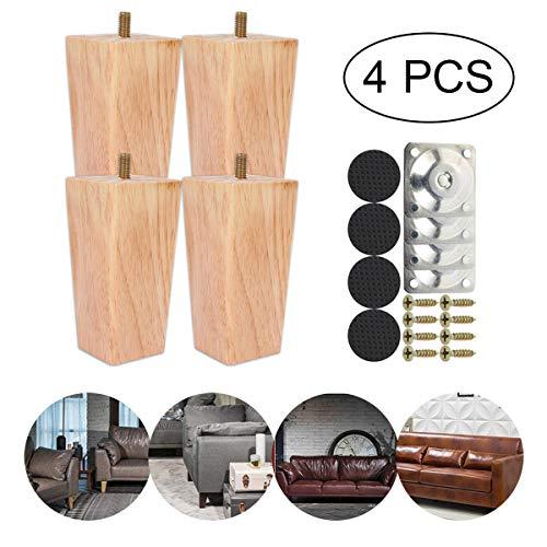 LKXHarleya 4 PCS MassivholzmöBel Ersatzbeine, KegelföRmige Tischbeine, Esstischbeine, Couchschrank HolzfüßE FüR Zu Hause
