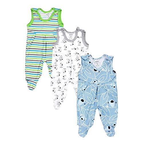 TupTam Baby Jungen Strampler mit Fuß 3er Pack, Farbe: Farbenmix 3, Größe: 56