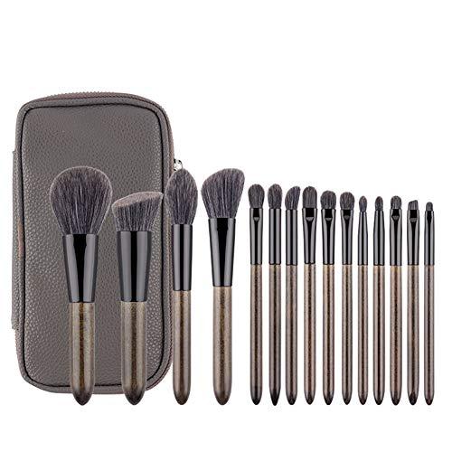 15 Granny Grey Maquillage Brosse Ensembles Super Fibre Fibre Cheveux Professionnel Portable Beauté Outils-Premium Synthétique Maquillage Brosse Ensemble Professionnel Cosmétiques Essentiels Avec É