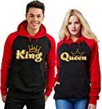 SR Gold King Queen Crown Raglan Hoodie Pullover Hooded Sweatshirt-BlackRed-XLarge-King ONLY