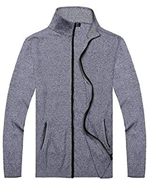 COOFANDY Mens Full Zip Up Sweaters Lightweight Casual Slim Fit Cardigan with Pockets (M, Navy Blue) by