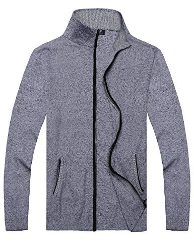 COOFANDY Mens Full Zip Up Sweaters Lightweight Casual Slim Fit Cardigan with Pockets (S, Navy Blue)