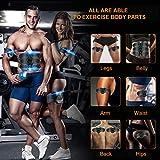 Geternal EMS - Aparato de entrenamiento de abdominales, estimulación muscular eléctrica ABS con USB, recargable, color azul