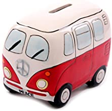 XSMP 1Piece Camper Van Shaped Money Box Creative Car Shape Saving Money Box Coin Piggy Bank Ceramic Bus Piggy Bank For Children (red)