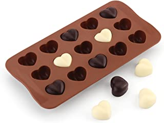 15 Cavity Love Hearts Shape Silicone Candy Chocolate Soap Molds, Ice Cube Tray, Cookie, Pudding, DIY Making Tool -Food Grade Silicone, BPA & PVC Free