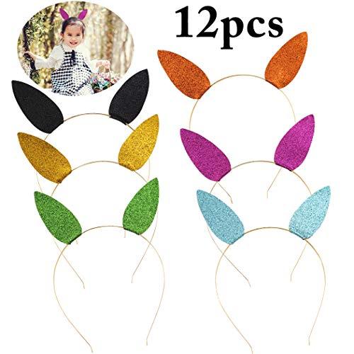 Zoylink 12PCS Bandeau Scintillant Cerceau De Cheveux Chapeaux De Fête Oreilles De Lapin