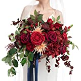 Material: the bridal bouquet is made of artificial Austin roses, closed peony, spider mom, pomegranate fruit, semi-cactus dahlia, and eucalyptus and willow leaves. They not only look beautiful but also very realistic. 17 inch Bouquet: The classic bou...