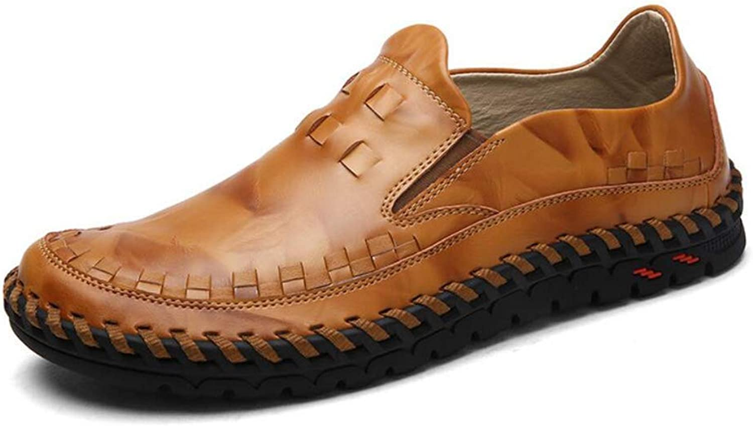 Men's Dress Loafers Leather Spring Fall Comfort Loafers & Slip-Ons Driving shoes Lazy shoes Walking shoes British Style Black Brown (color   Brown, Size   42)